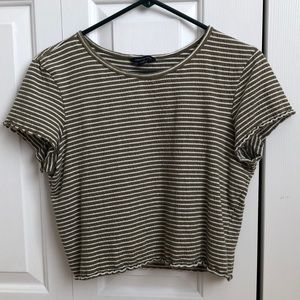 American Eagle army green striped crop top size L